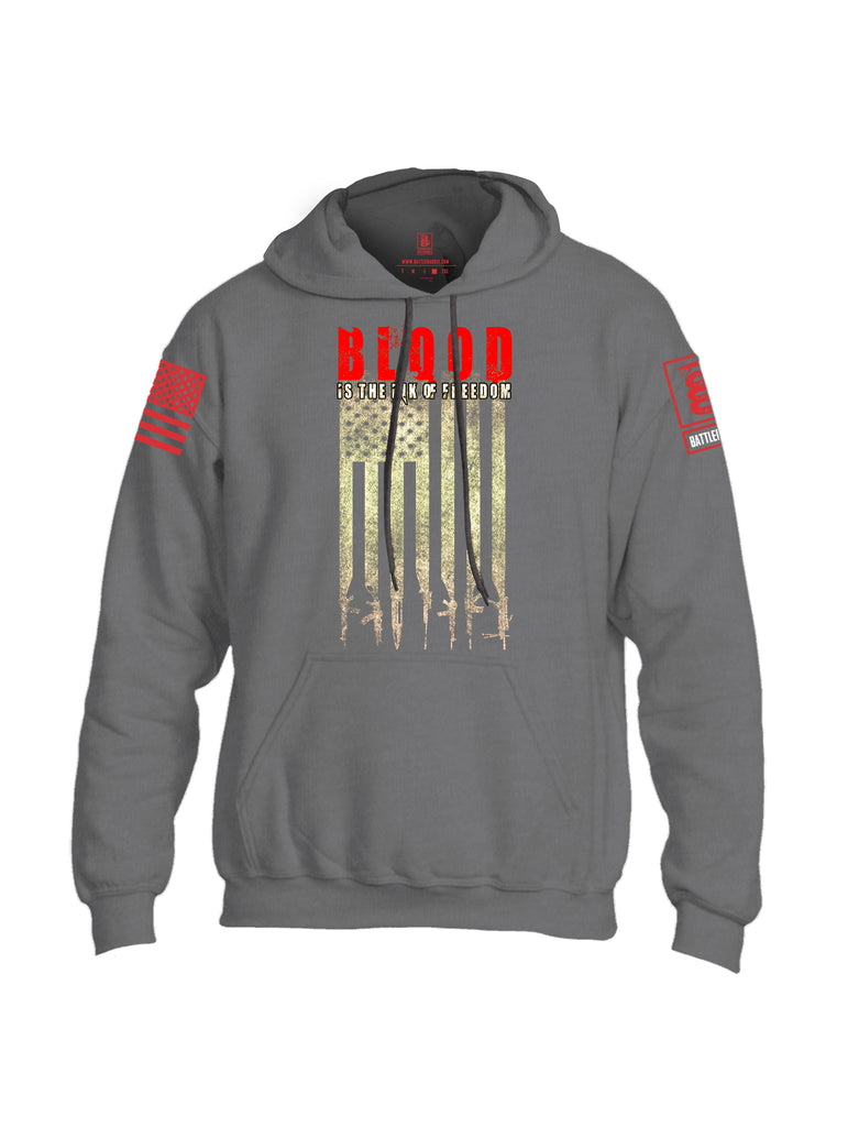 Battleraddle Blood Is The Ink Of Freedom Red Sleeve Print Mens Blended Hoodie With Pockets
