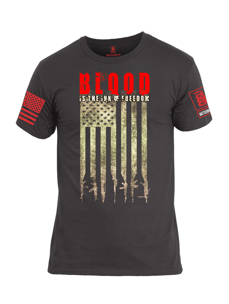 Battleraddle Blood Is The Ink Of Freedom Red Sleeve Print Mens Cotton Crew Neck T Shirt