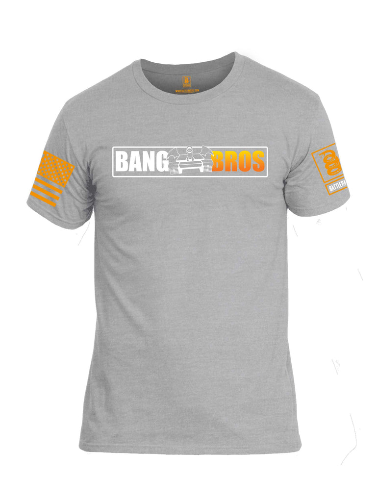 Battleraddle Bat Wing Tank Bang Bros BR Logo Orange Sleeve Print Mens Cotton Crew Neck T Shirt
