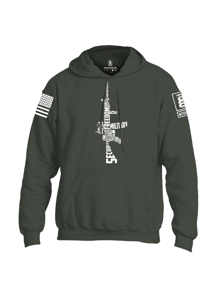 Battleraddle Freedom AR15 White Sleeve Print Mens Blended Hoodie With Pockets