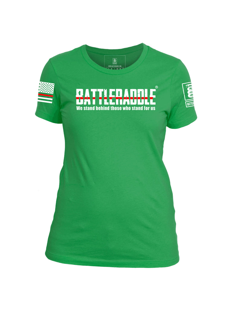 Battleraddle We Stand Behind Those Who Stand For Us Red Line White Sleeve Print Womens Cotton Crew Neck T Shirt