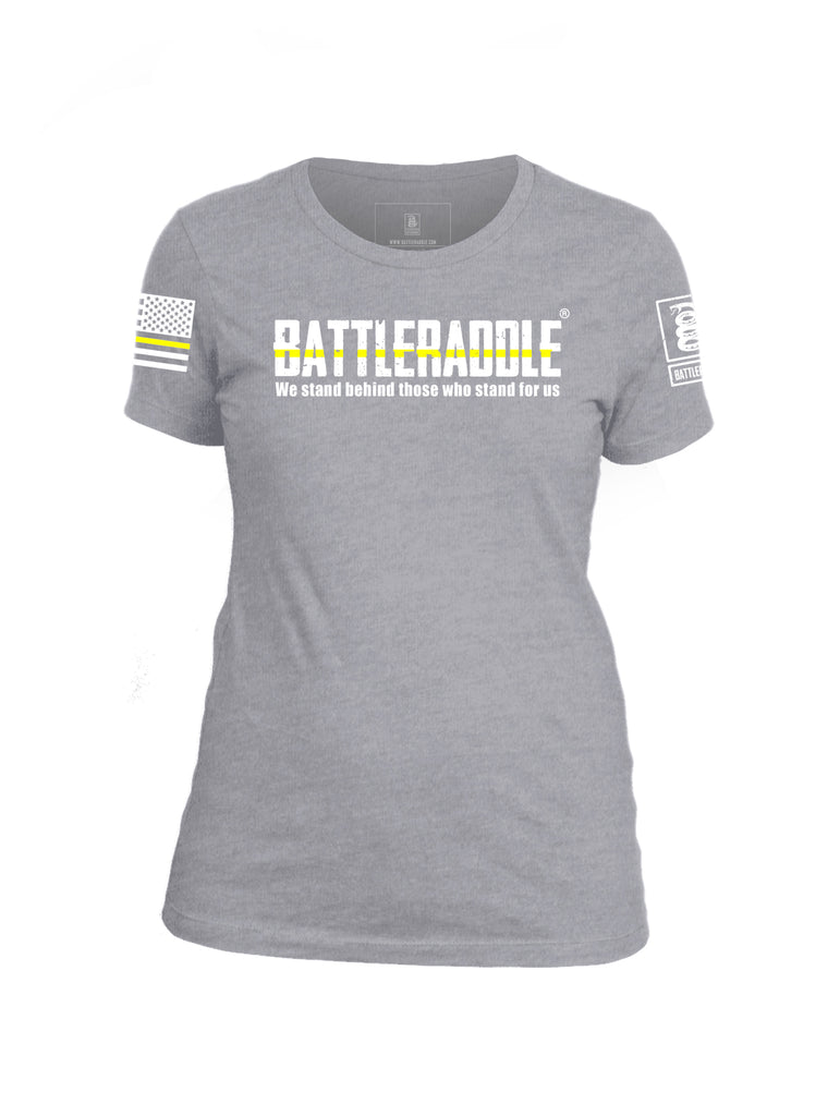 Battleraddle We Stand Behind Those Who Stand For Us Yellow Line White Sleeve Print Womens Cotton Crew Neck T Shirt