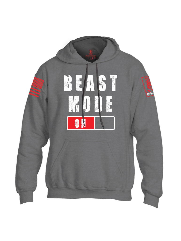 Battleraddle Beast Mode On Red Sleeve Print Mens Blended Hoodie With Pockets-Dark Heather Grey