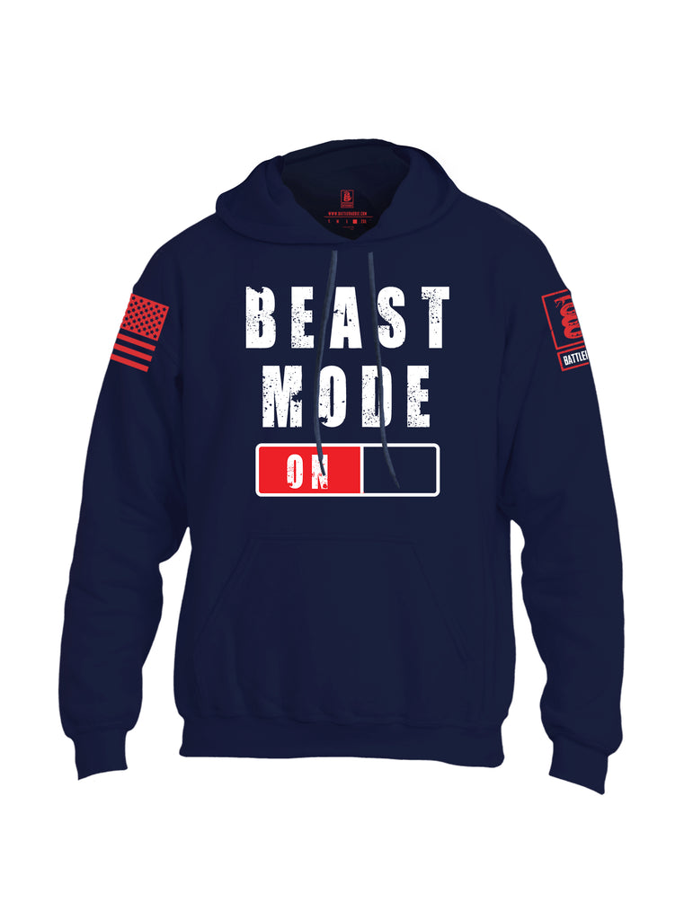 Battleraddle Beast Mode On Red Sleeve Print Mens Blended Hoodie With Pockets-Navy Blue