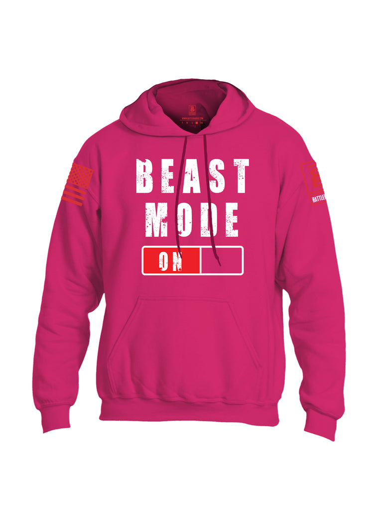Battleraddle Beast Mode On Red Sleeve Print Mens Blended Hoodie With Pockets-Pink