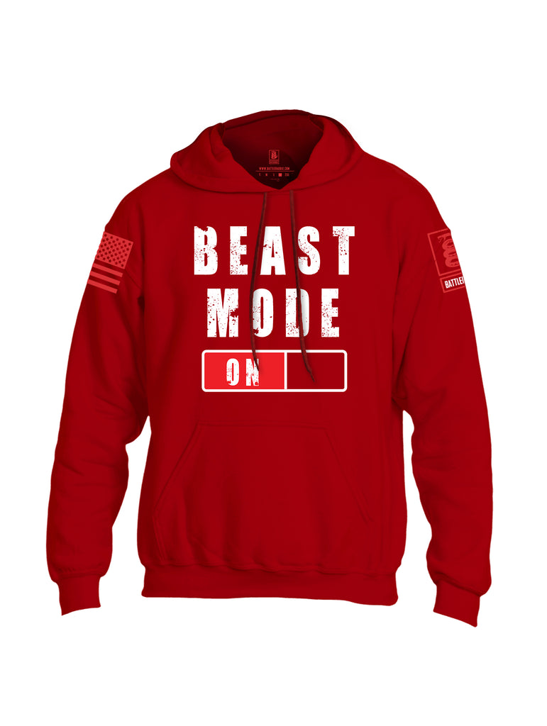 Battleraddle Beast Mode On Red Sleeve Print Mens Blended Hoodie With Pockets-Red