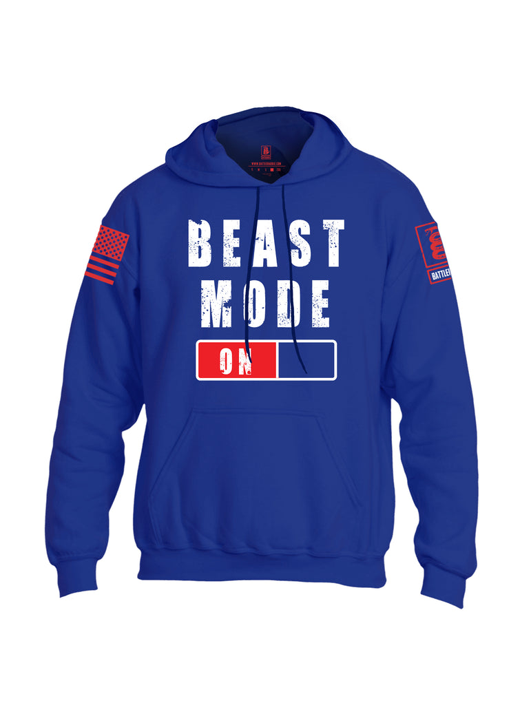 Battleraddle Beast Mode On Red Sleeve Print Mens Blended Hoodie With Pockets-Royal Blue