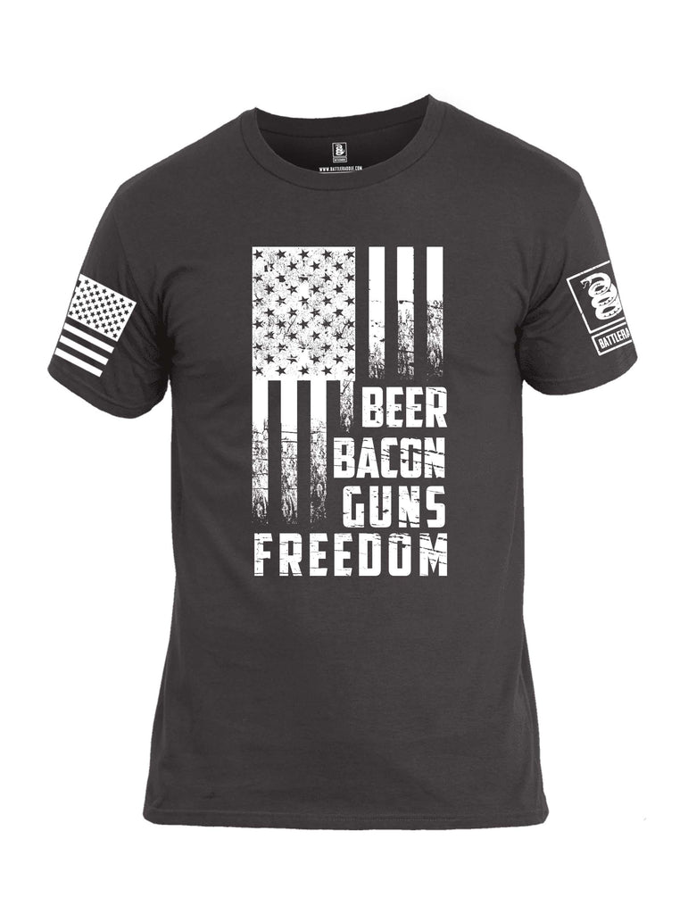 Battleraddle Beer Bacon Guns Freedom White Sleeve Print Mens Cotton Crew Neck T Shirt