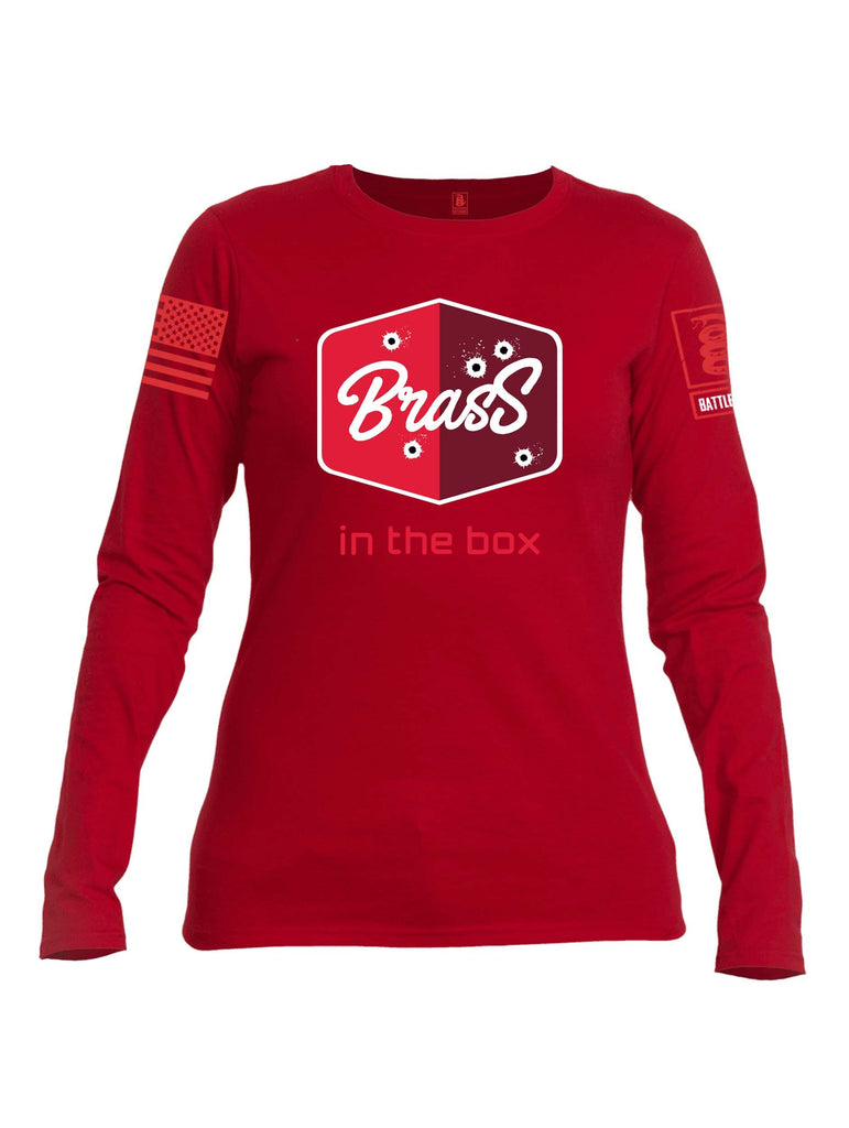 Battleraddle Brass In The Box Red Sleeve Print Womens Cotton Long Sleeve Crew Neck T Shirt