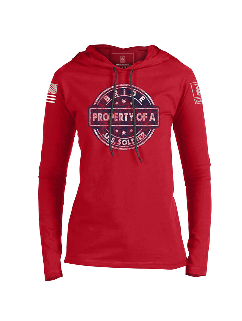 Battleraddle Bride Property Of A U.S. Soldier White Sleeve Print Womens Thin Cotton Lightweight Hoodie