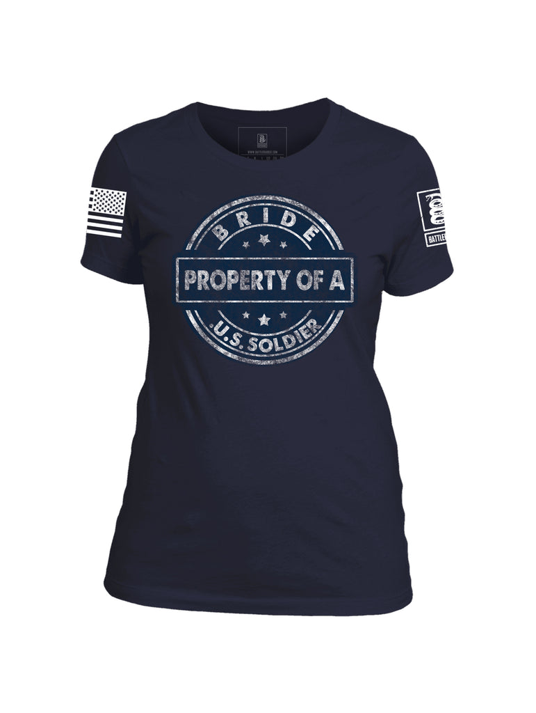 Battleraddle Bride Property Of A U.S. Soldier White Sleeve Print Womens Cotton Crew Neck T Shirt