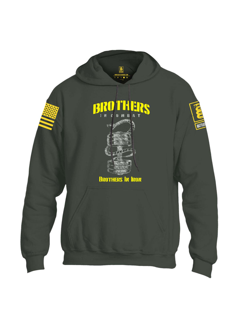 Battleraddle Brothers In Combat Brothers In Iron Yellow Sleeve Print Mens Blended Hoodie With Pockets