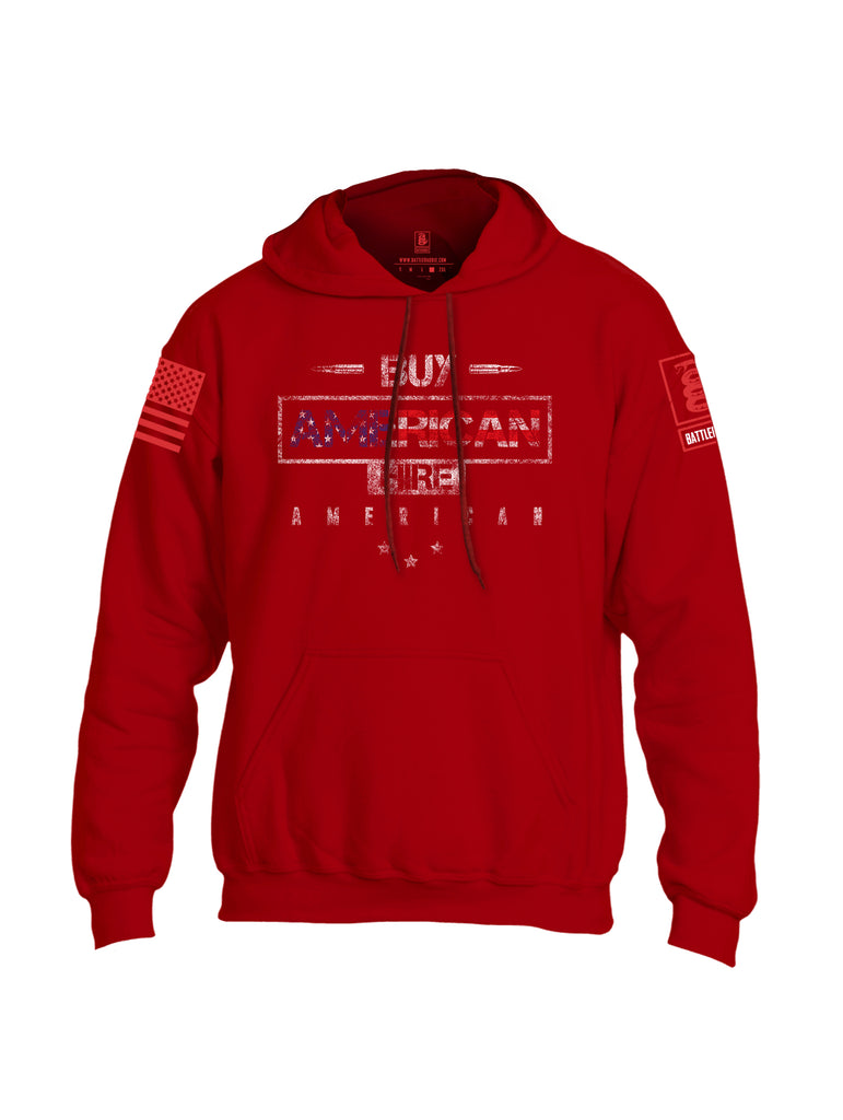 Battleraddle Buy American Hire American Red Sleeve Print Mens Blended Hoodie With Pockets