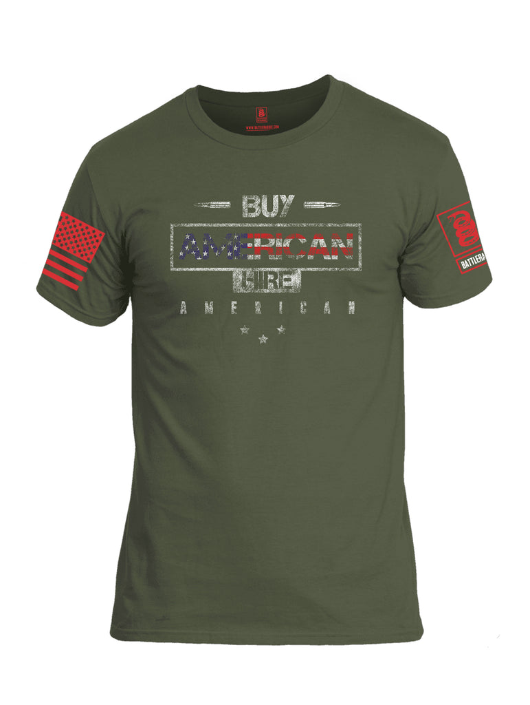 Battleraddle Buy American Hire American Red Sleeve Print Mens Cotton Crew Neck T Shirt