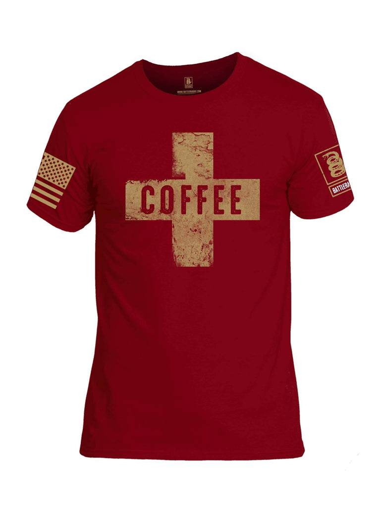 Battleraddle Coffee Cross Brass Sleeve Print Mens Cotton Crew Neck T Shirt shirt|custom|veterans|Apparel-Mens T Shirt-cotton