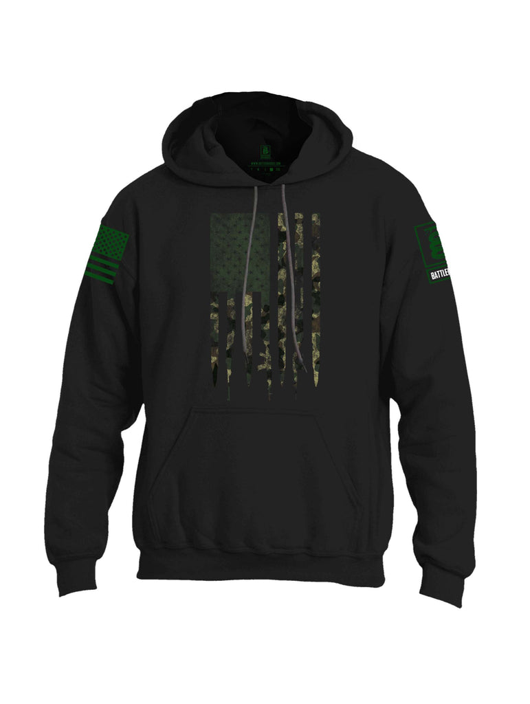 Battleraddle Camo Gun and Bullet Flag Regular Stars Dark Green Sleeve Print Mens Blended Hoodie With Pockets