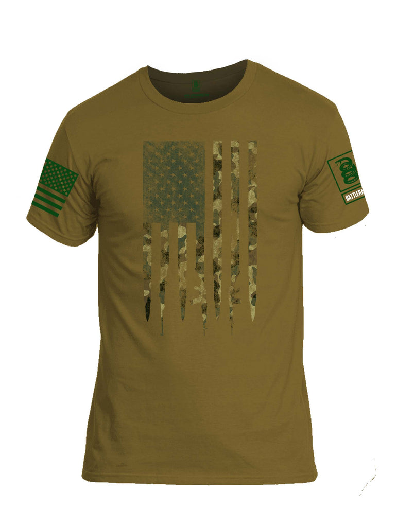 Battleraddle Camo Gun And Bullet Flag Regular Stars Dark Green Sleeve Print Mens Cotton Crew Neck T Shirt