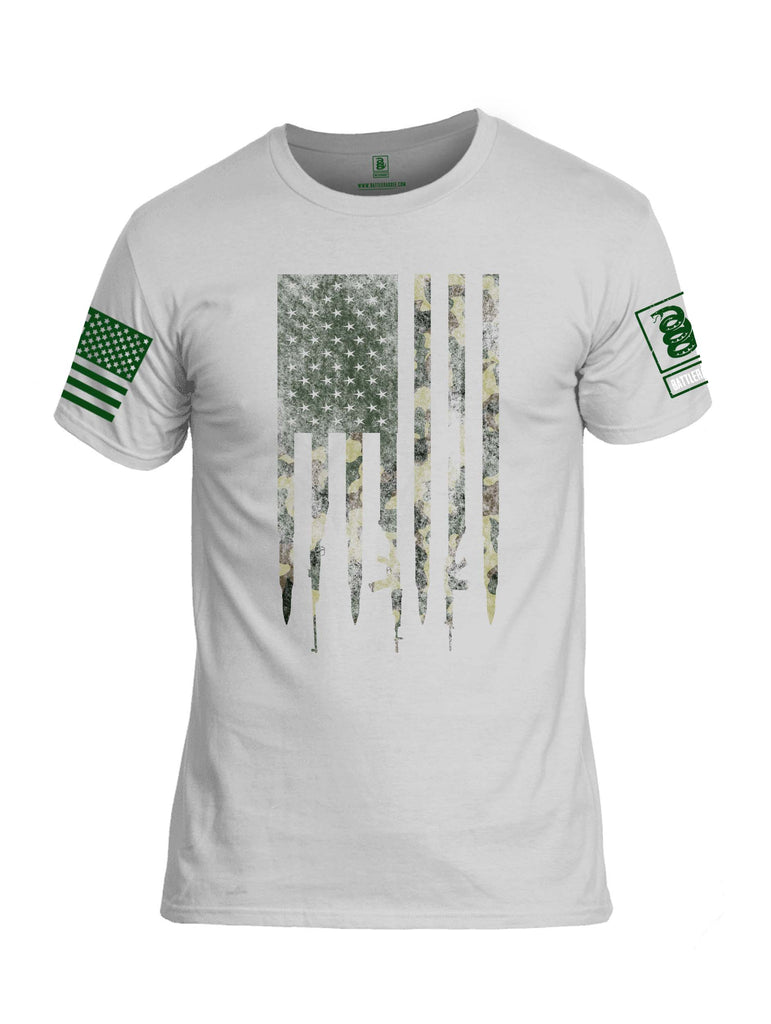 Battleraddle Camo Gun And Bullet Flag Regular Stars BR Logo Camo Sleeve Print Mens Cotton Crew Neck T Shirt