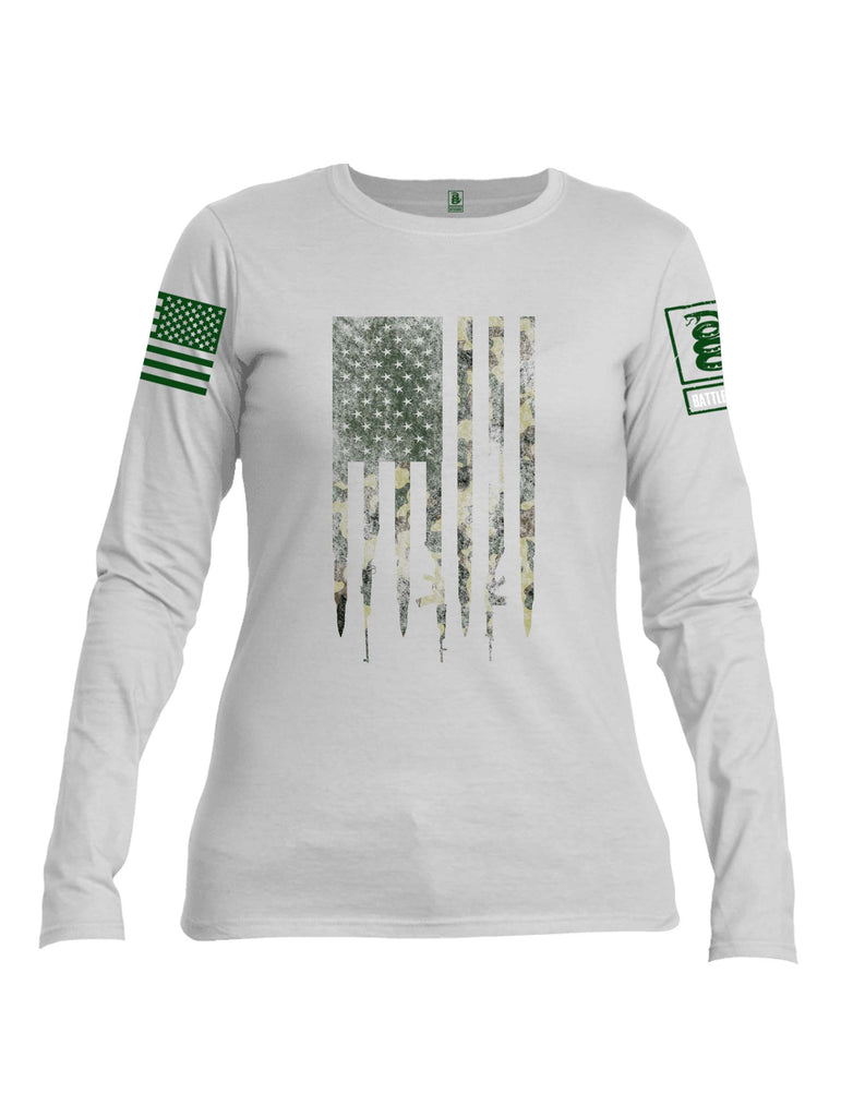 Battleraddle Camo Gun and Bullet Flag Regular Stars Dark Green Sleeve Print Womens Cotton Long Sleeve Crew Neck T Shirt