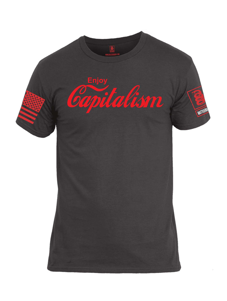 Battleraddle Enjoy Capitalism Red Sleeve Print Mens Cotton Crew Neck T Shirt