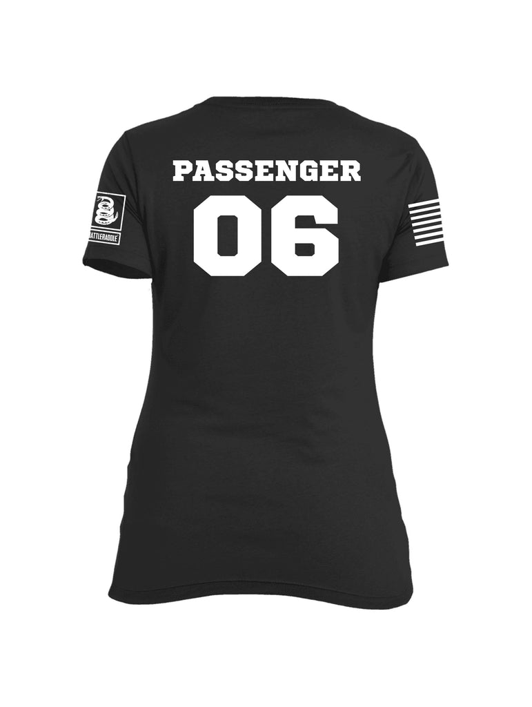 Battleraddle Chairforce Passenger 06 White Sleeve Print Womens Cotton Crew Neck T Shirt - Battleraddle® LLC