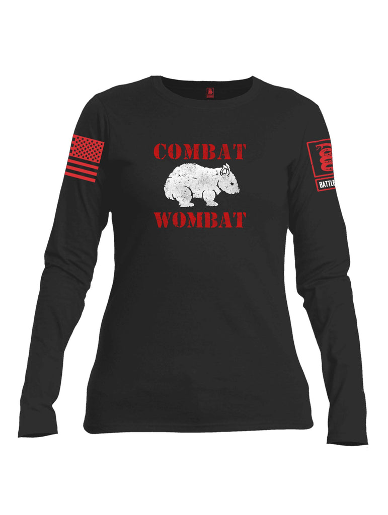 Battleraddle Combat Wombat Red Sleeve Print Womens Cotton Long Sleeve Crew Neck T Shirt