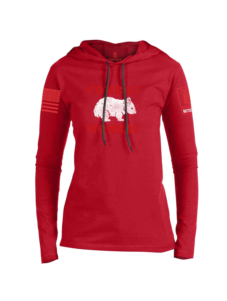 Battleraddle Combat Wombat Red Sleeve Print Womens Thin Cotton Lightweight Hoodie