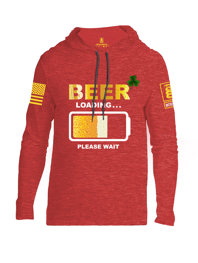 Battleraddle Beer Loading Please Wait Yellow Sleeve Print Mens Thin Cotton Lightweight Hoodie - Battleraddle® LLC