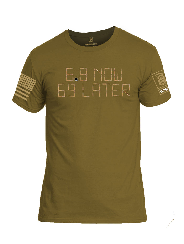 Battleraddle 6.8 Now 69 Later Brass Sleeve Print Mens Cotton Crew Neck T Shirt