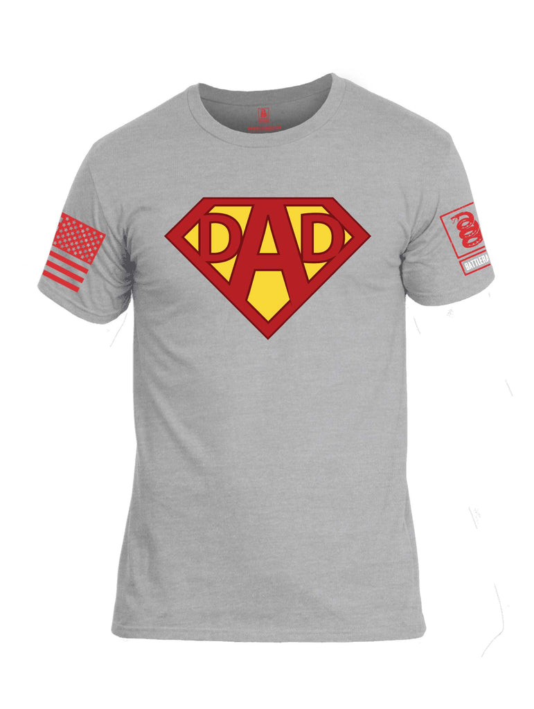 Battleraddle Dad Red Sleeve Print Mens Cotton Crew Neck T Shirt