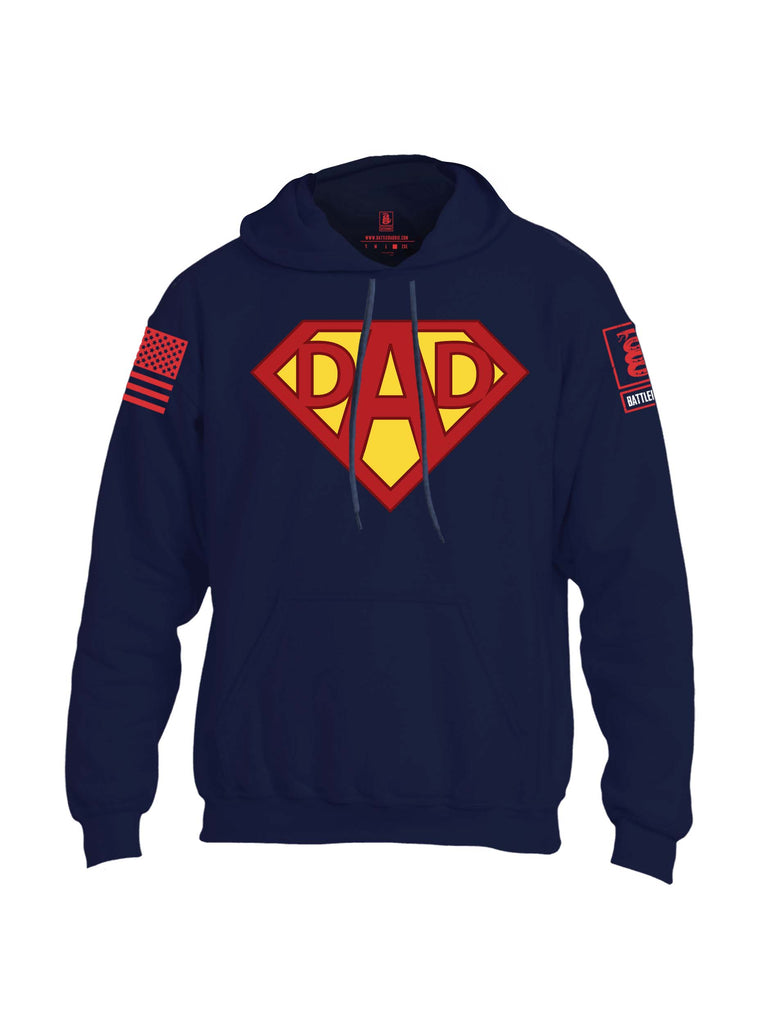 Battleraddle Dad Red Sleeve Print Mens Blended Hoodie With Pockets
