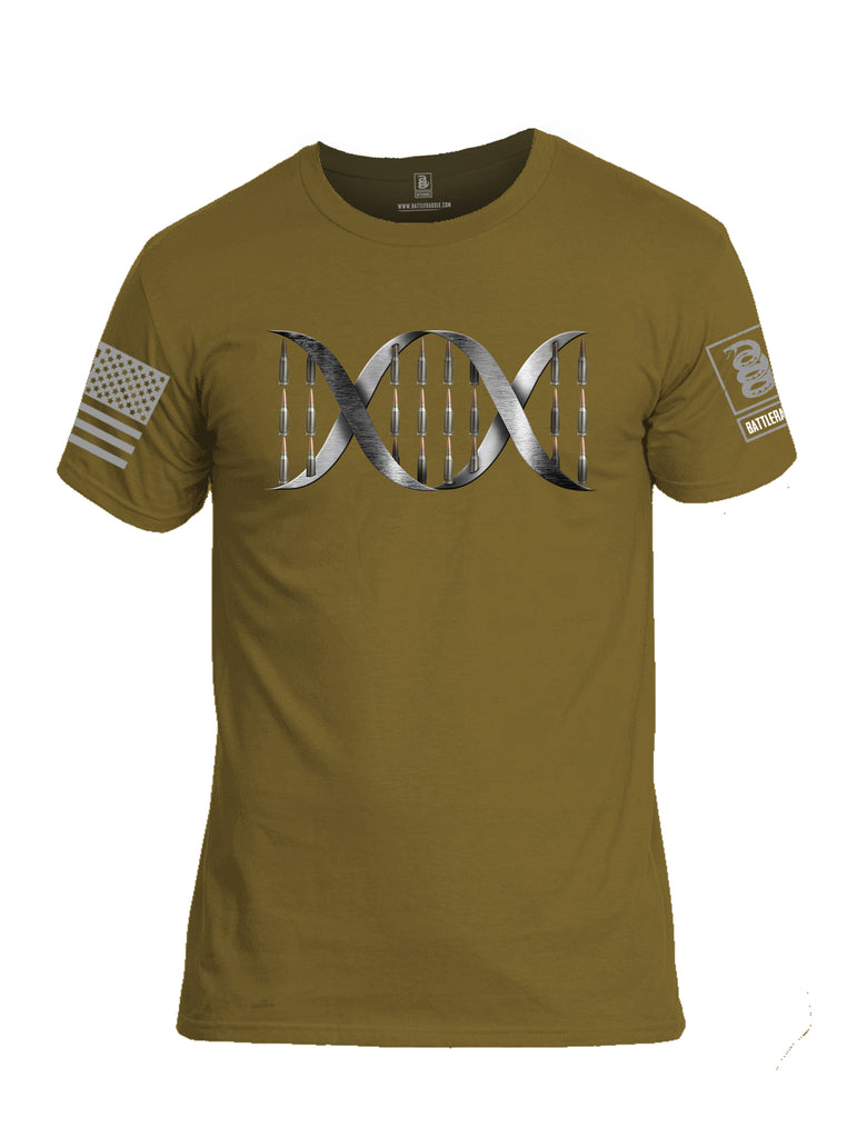 Battleraddle Bullet DNA V1 Grey Sleeve Print Mens Cotton Crew Neck T Shirt