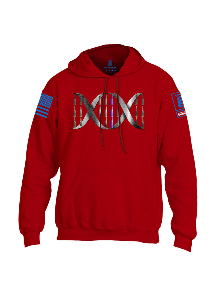Battleraddle Bullet DNA Blue Line V2 Blue Sleeve Print Mens Blended Hoodie With Pockets