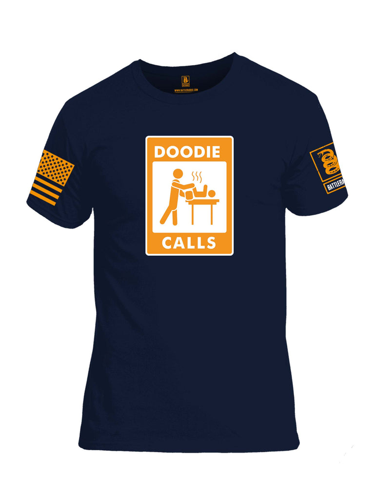 Battleraddle Doodie Calls Orange Sleeve Print Mens Cotton Crew Neck T Shirt