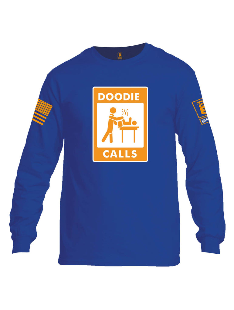 Battleraddle Doodie Calls Orange Sleeve Print Mens Cotton Long Sleeve Crew Neck T Shirt