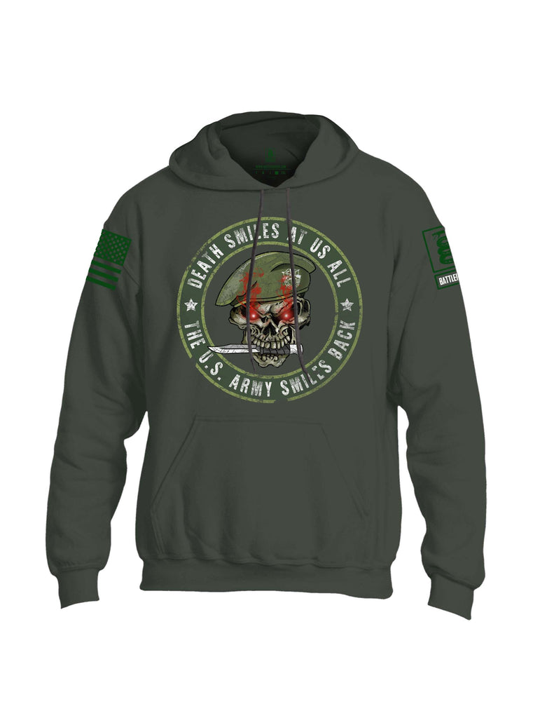 Battleraddle Death Smiles At Us All The Army Smiles Back Green Sleeve Print Mens Blended Hoodie With Pockets