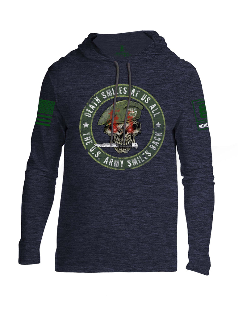 Battleraddle Death Smiles At Us All The Army Smiles Back Green Sleeve Print Mens Thin Cotton Lightweight Hoodie