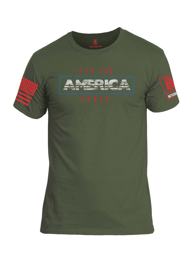 Battleraddle Did You America Today Red Sleeve Print Mens Cotton Crew Neck T Shirt
