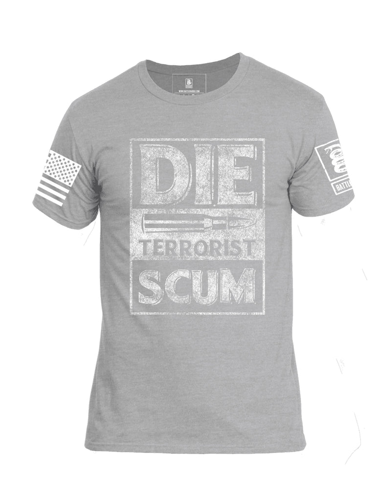 Battleraddle Die Terrorist Scum White Sleeve Print Mens Cotton Crew Neck T Shirt
