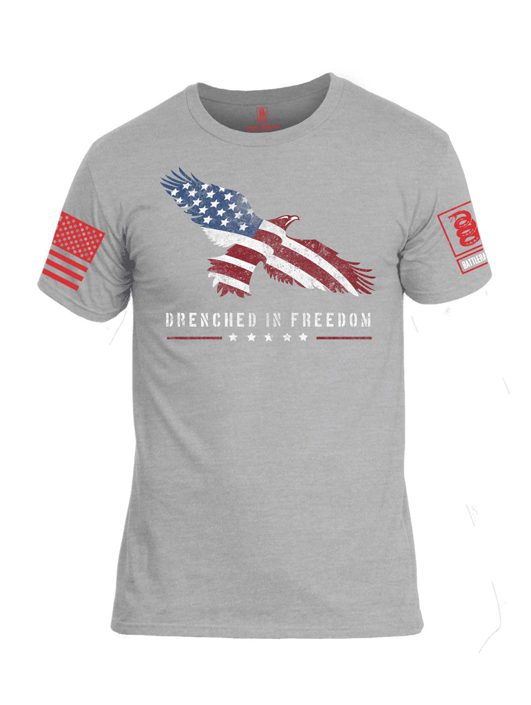 Battleraddle Drenched In Freedom Red Sleeve Print Mens Cotton Crew Neck T Shirt