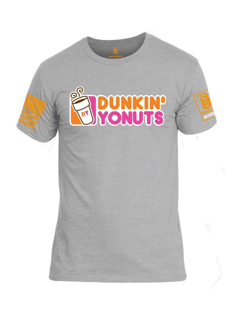 Battleraddle Dunkin Yonuts Orange Sleeve Print Mens Cotton Crew Neck T Shirt