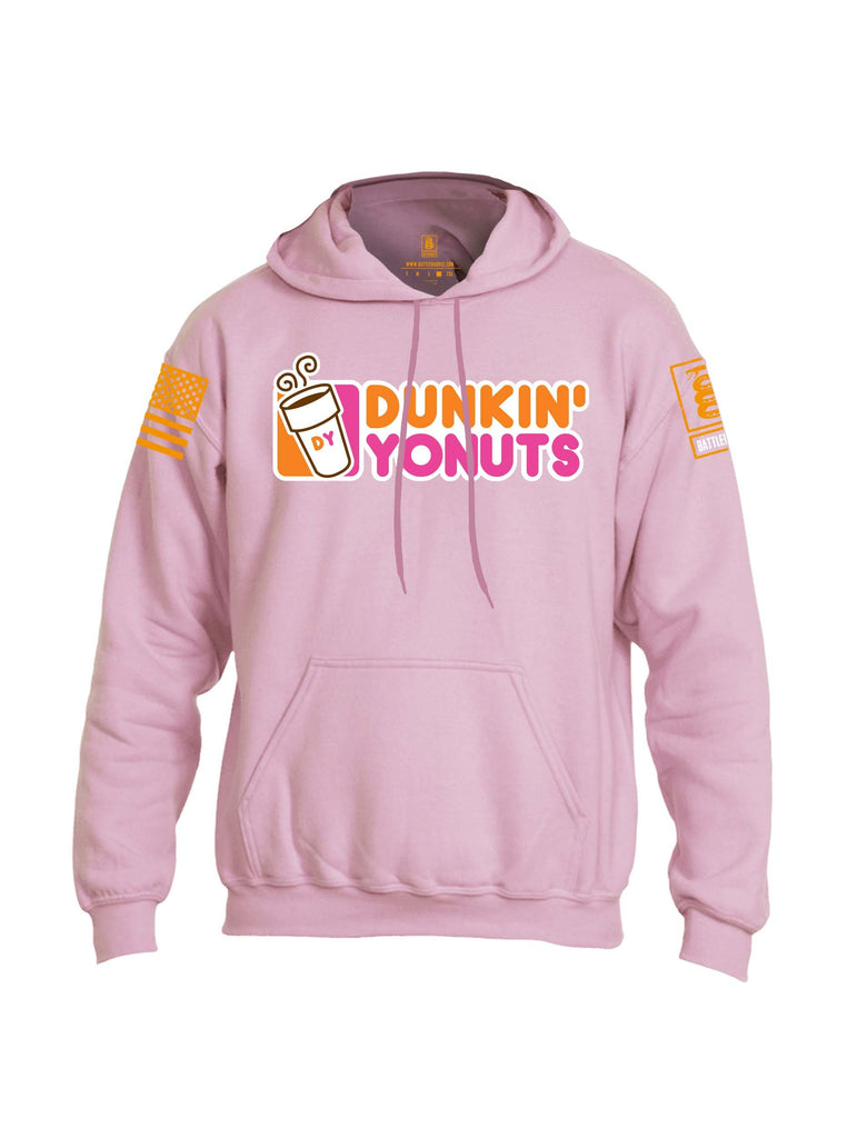 Battleraddle Dunkin Yonuts Orange Sleeve Print Mens Blended Hoodie With Pockets