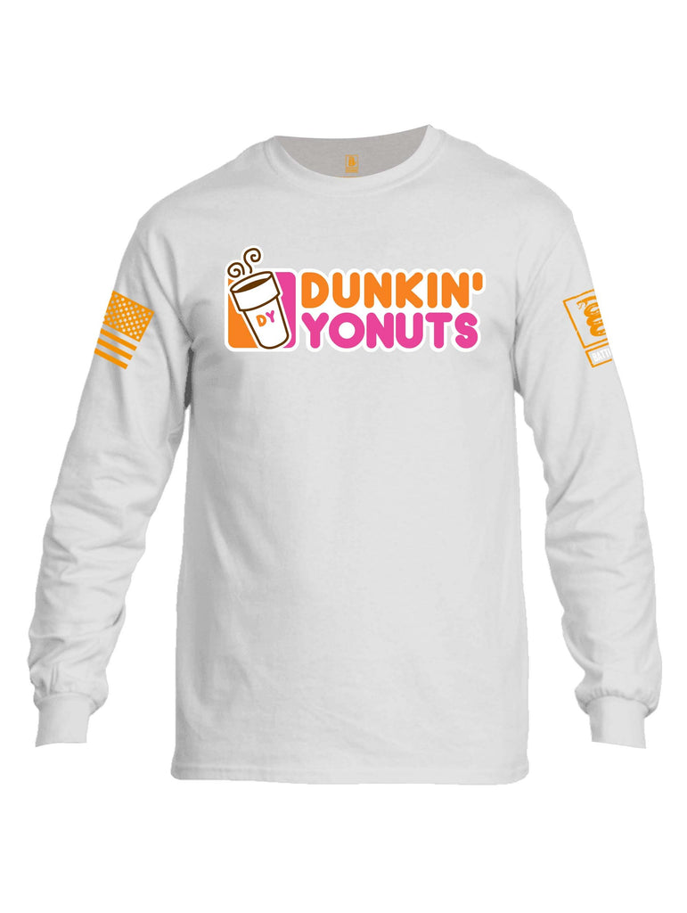 Battleraddle Dunkin Yonuts Orange Sleeve Print Mens Cotton Long Sleeve Crew Neck T Shirt
