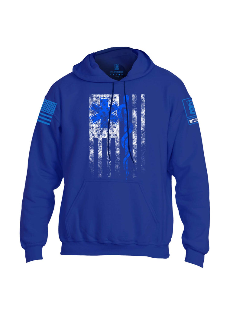 Battleraddle EMT Emergency Medical Technician Blue Sleeve Print Mens Blended Hoodie With Pockets