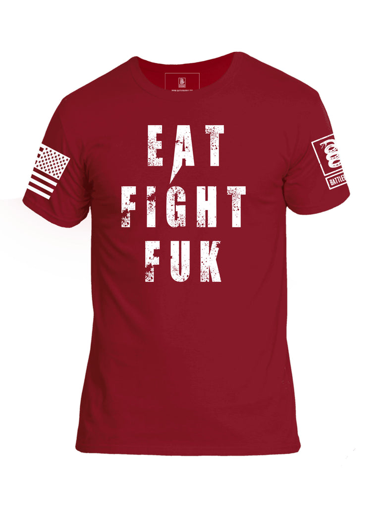 Battleraddle Eat Fight Fuk Mens Cotton Crew Neck T Shirt