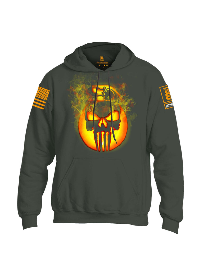 Battleraddle Expounder Skull Pumpkin Orange Sleeve Print Mens Blended Hoodie With Pockets