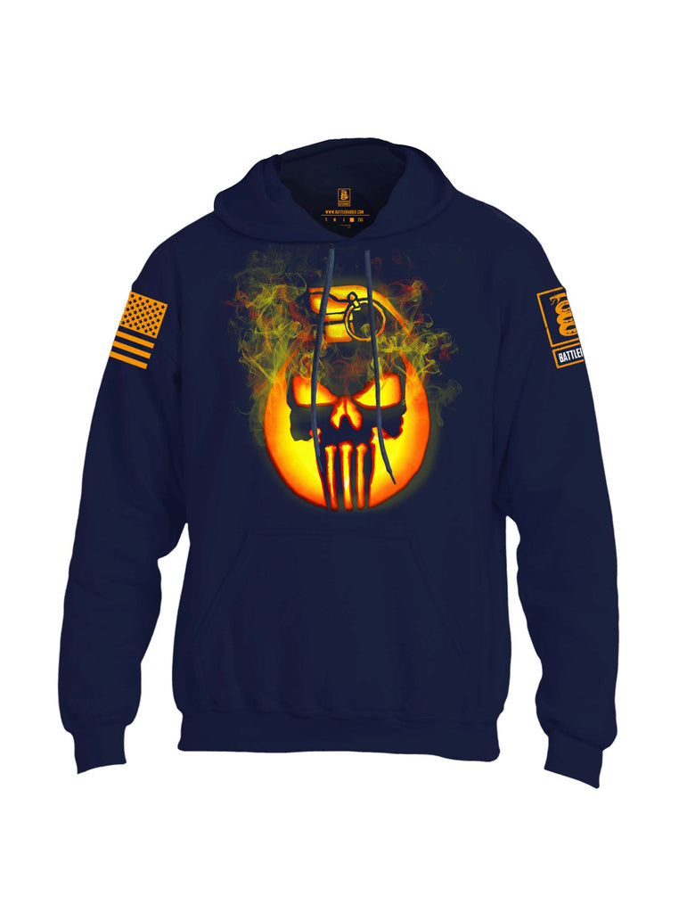 Battleraddle Expounder Skull Pumpkin Orange Print Mens Blended Hoodie With Pockets