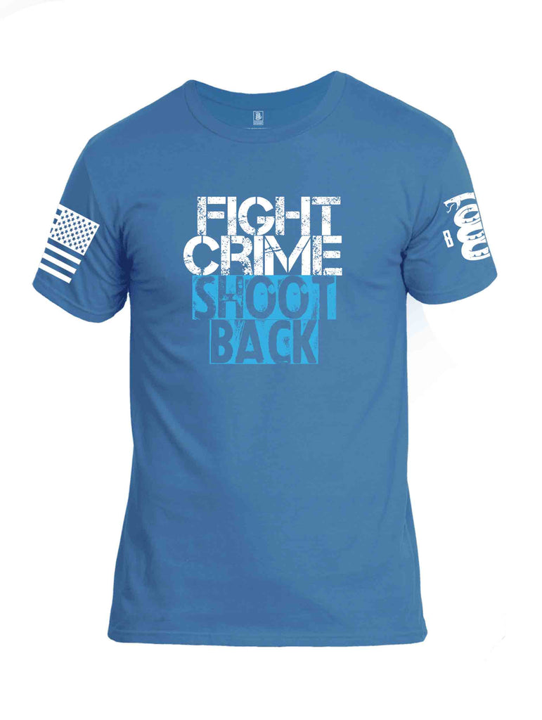 Battleraddle Fight Crime Shoot Back White Sleeve Print Mens Cotton Crew Neck T Shirt