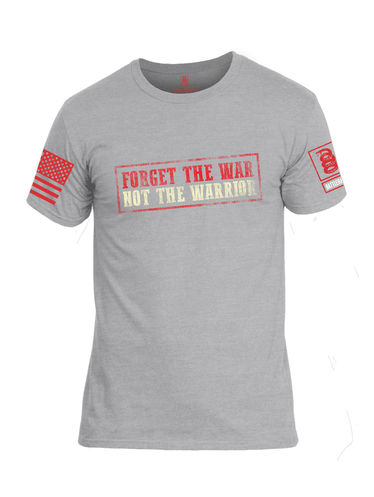 Battleraddle Forget The War Not The Warrior Red Sleeve Print Mens Cotton Crew Neck T Shirt