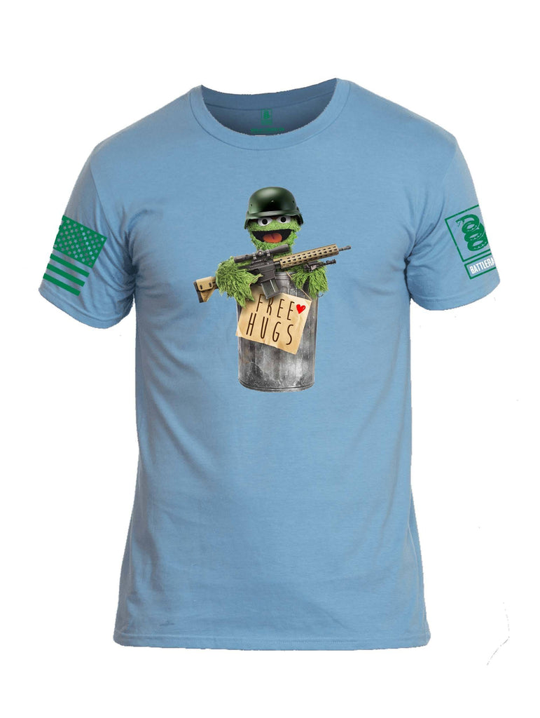 Battleraddle Grouchy Free Hugs Green Sleeve Print Mens Cotton Crew Neck T Shirt shirt|custom|veterans|Apparel-Mens T Shirt-cotton